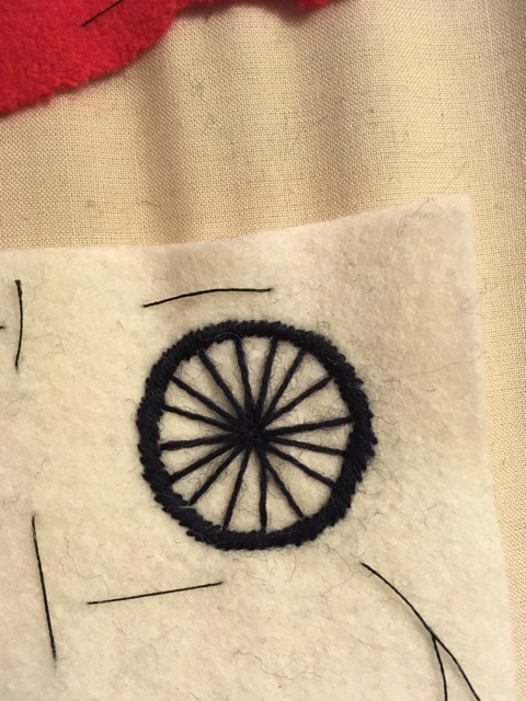 Replica 1918 Cyclist Badge in sock darning wool on wool felt.