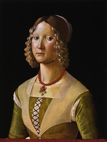Ghirlandaio's portrait of Selvaggia Sassetti, showing crossed-and-tied lacing technique.