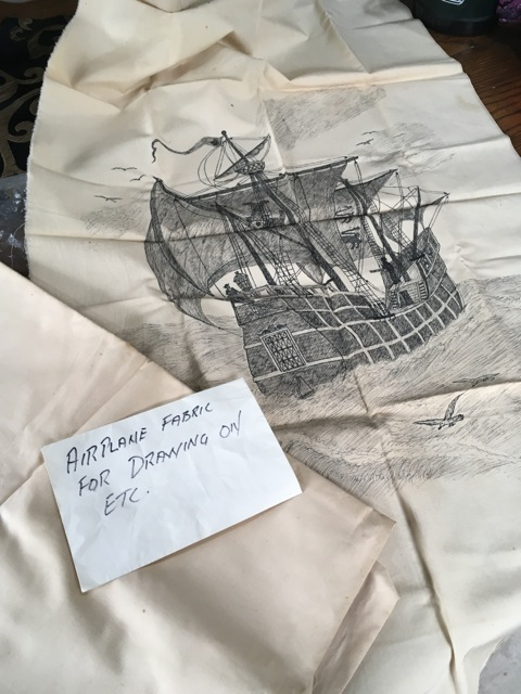 WWII Airplane fabric and Granddad's Sketch.