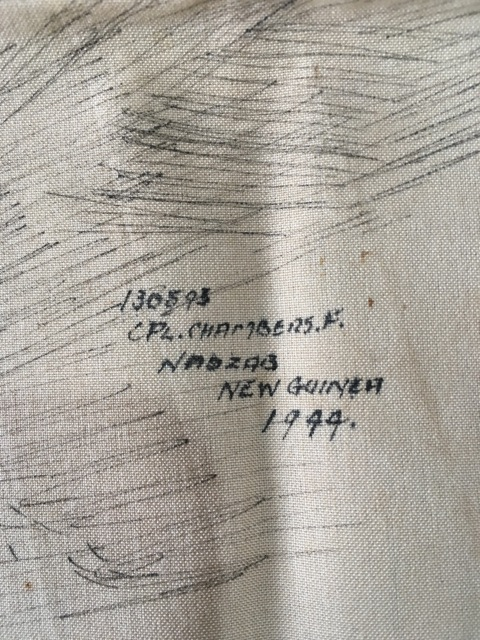 Signature, location and date - drawing done on Airplane fabric.
