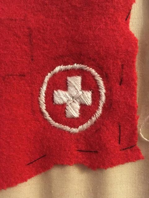 My 1918 Sick Nurse Badge Replica, on the canvas.